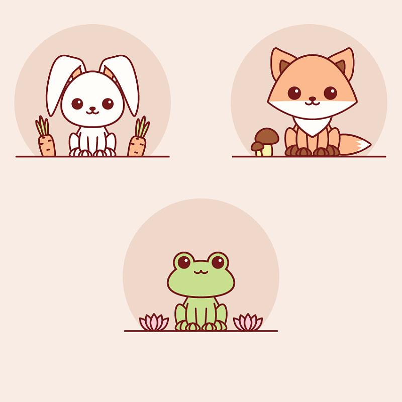 教你们用ai绘制简笔画宠萌小动物,青蛙,狐狸,兔子原来可以这么可爱呀