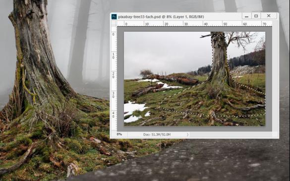 刷擦除边缘,使树根与地面更为融合-PS教程 教你合成神秘森林场景